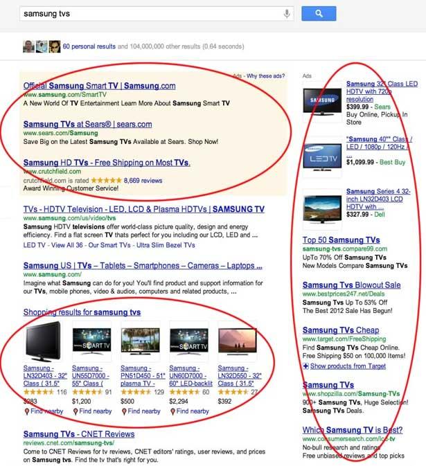 حملات اعلانية على جوجل